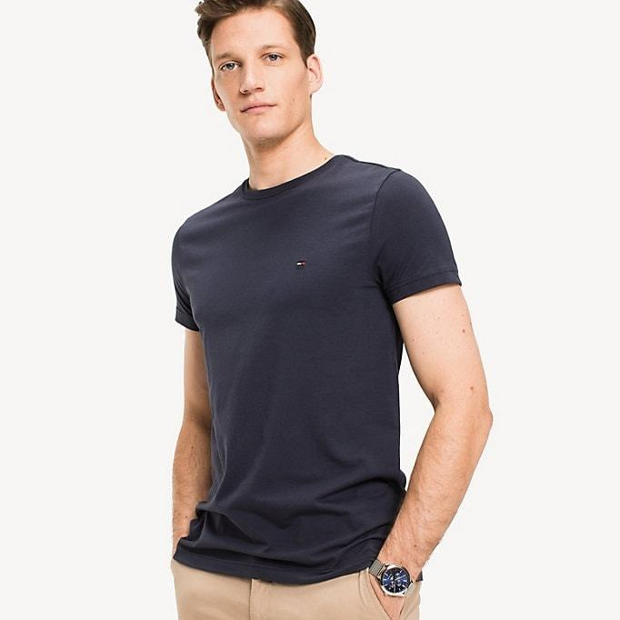 Hilfiger New Stretch C-Nk T-Shirt Tumman Sininen