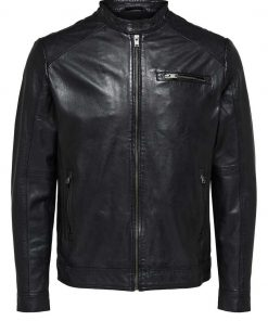 Selected C-01 Classic Leather Jac Black Musta
