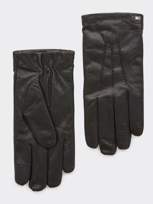 Tommy Hilfiger Flag Leather Gloves Musta