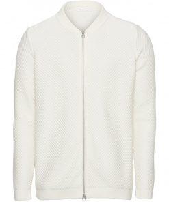 Knowledge Cotton Apparel Field Zip Cardigan White