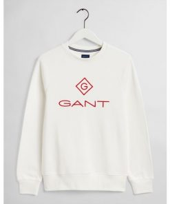 Gant Color Lock Up C-Neck Sweatshirt Eggshell