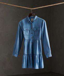 Superdry Tiered Shirt Dress Light Indigo Used