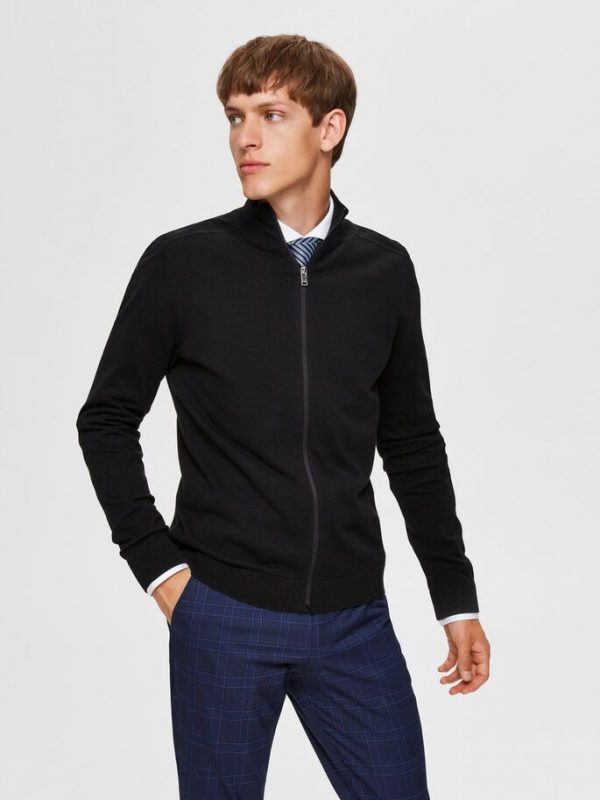 Selected Homme Berg Full Zip Cardigan Black
