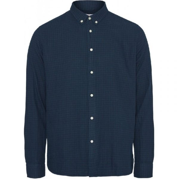 Knowledge Cotton Apparel Larch Double Layer checked Shirt Moonlite Ocean