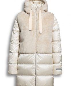 Beaumont Changeant Fur Combi Long Jacket Off White