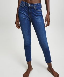 Calvin Klein Mid Rise Skinny Ankle Jeans  Dark Blue Embro