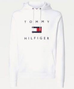 Tommy Hilfiger Men Flag Logo Cotton Hoody White
