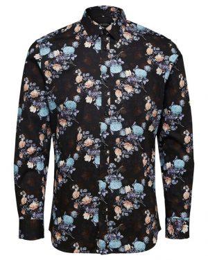 Selected Homme Floral Print Shirt Black