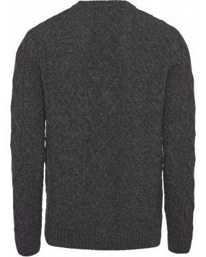 KnowledgeCotton Apparel Walley Cable Knit Cardigan Dark Grey