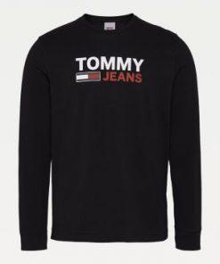 Tommy Jeans Long Sleeve Logo T-shirt Black