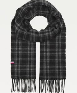 Tommy Hilfiger Uptown Check Wool Scarf Black Check