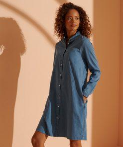 Superdry Classic Preppy Shirt Dress Chambray Blue