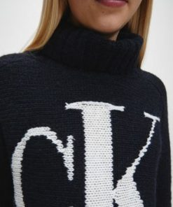 Calvin Klein Logo Roll Neck Sweater Black