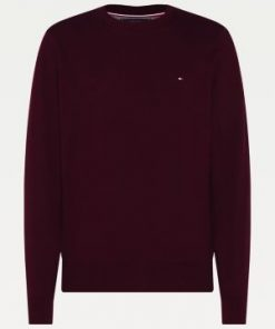 Tommy Hilfiger Pima Cotton/Cashmere Sweater Deep Burgundy Heather