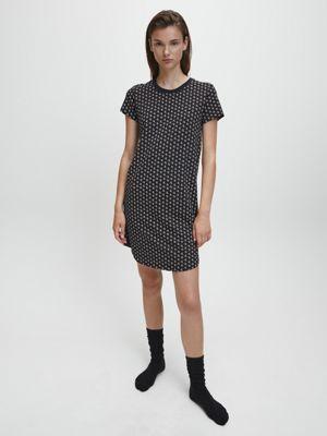 Calvin Klein Night Shirt logo Print Black