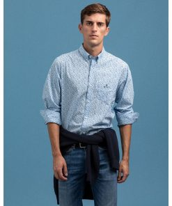 Gant Regular Fit Star Burst Shirt Powder Blue