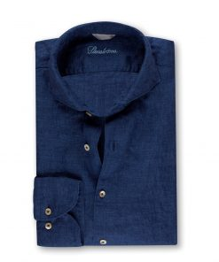 Stenströms Fitted Body Linen Shirt Blue