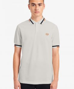 Fred Perry Abstract Tipped Polo Shirt Snow White